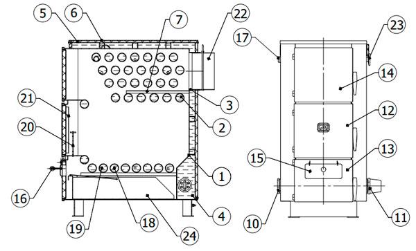 Конструктивная схема котла Куппер