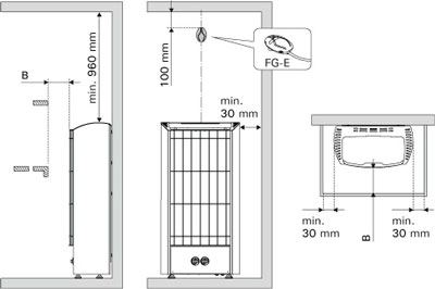 Схема установки электрической каменки Harvia Figaro