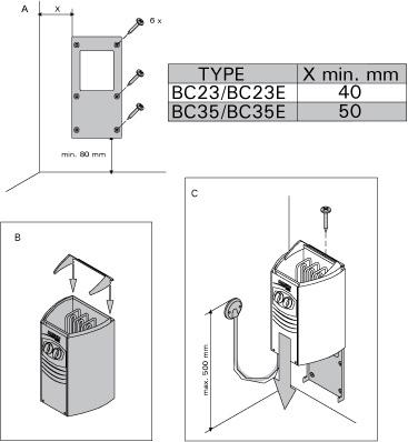 Схема установки электрической печи Harvia Vega Compact